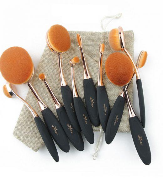 Ensemble de 10 brosses ovales de maquillage professionne